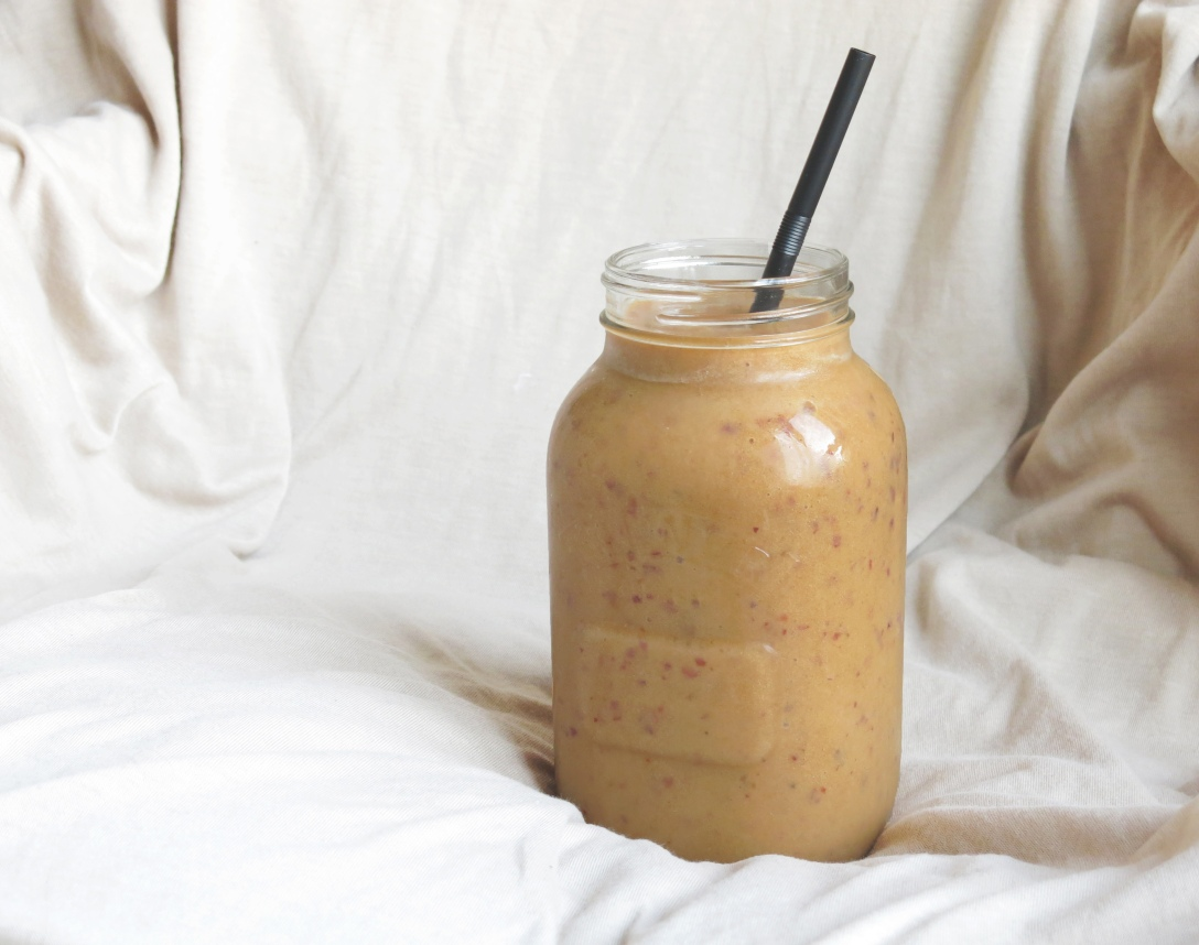 Peach and Banana smoothie, fruit, raw