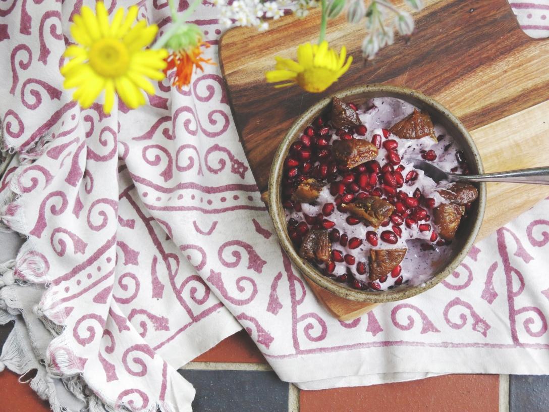 Raw vegan buckwheat and blueberry icecream